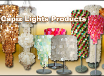 Capiz made hanging, table and floor lamps lighting products