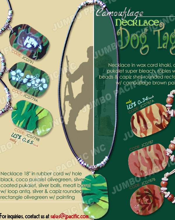 Dog Tag Capiz Pendant